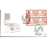 <div><strong>ATMs Etiqueta Postal Conmemorativa N</strong><strong>º 16a/b Pamplona 88 </strong><strong>en sobre </strong></div>