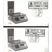 <div><strong>ATMs Etiqueta Postal Conmemorativa N</strong><strong>º 18a/b Expofil VIII </strong><strong>en sobre </strong></div>