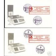 <div><strong>ATMs Etiqueta Postal Conmemorativa N</strong><strong>º 9 a/b XIX Feria Nacional del Sello </strong><strong>en sobre </strong></div>