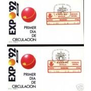 <div><strong>ATMs Etiqueta Postal Conmemorativa N</strong><strong>º 13a/b Expo 92 </strong><strong>en sobre </strong></div>