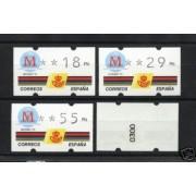 <div><strong>ATMs Kl&uuml;ssendorf Madrid 92 4 dígitos 4 valores Año 1994 con número<br /> </strong></div>