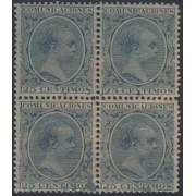 España Spain Variedad 221ib Bl.4 1889/1899 Papel Azulado Alfonso XIII