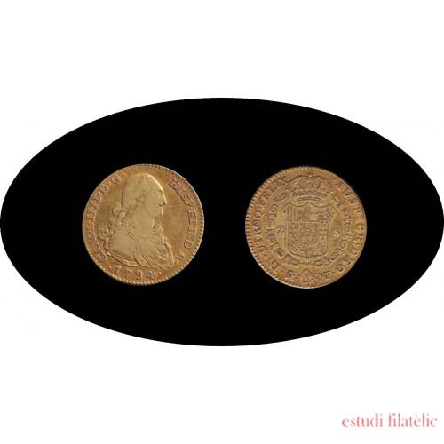 España Spain 2 escudos 1794 Fernando Ferdinan VII Madrid MF Oro Au gold