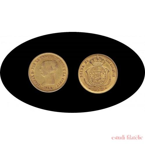 España Spain Isabel II 1854 100 reales Sevilla Oro Au Gold