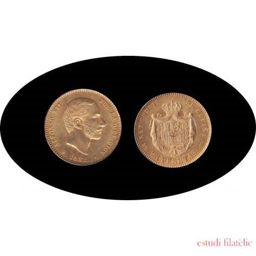España Spain 25 ptas 1882 Alfonso XII oro Au gold