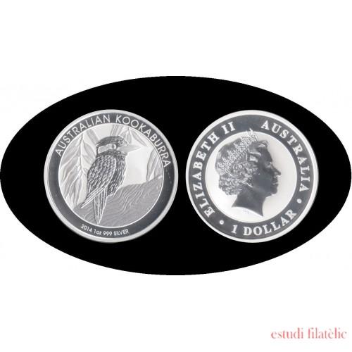 Australia Kookaburra 1 onza 1$ 2014  Plata