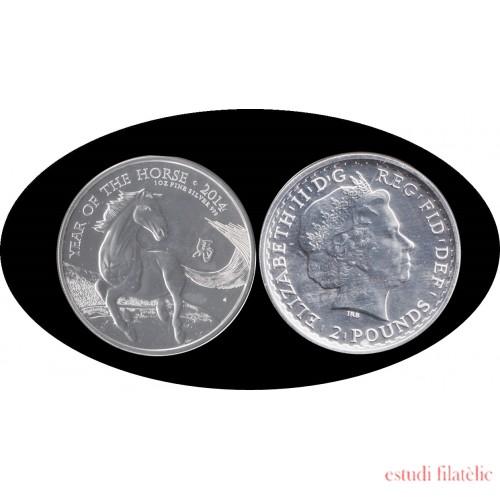 Britania Britannia 2014 1 oz Caballo Horse Plata Silver