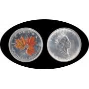 Canadá Canada Onza de plata 5 $ 2001 Maple Leaf Elisabeth II Color