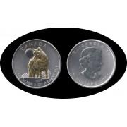 Canadá Canada 1 Onza 2016 Lobo Wolf Plata Silver 5$  Baño de oro