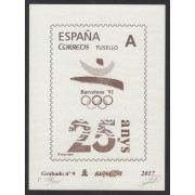 España Spain Grabado 9 Barnafil 2017 25 Aniversario JJOO Barcelona 92 Olimpiadas