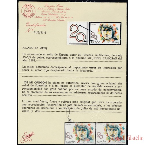 España Spain Variedad 2989j 1989 María de Maeztu Error Color Cert Graus MNH