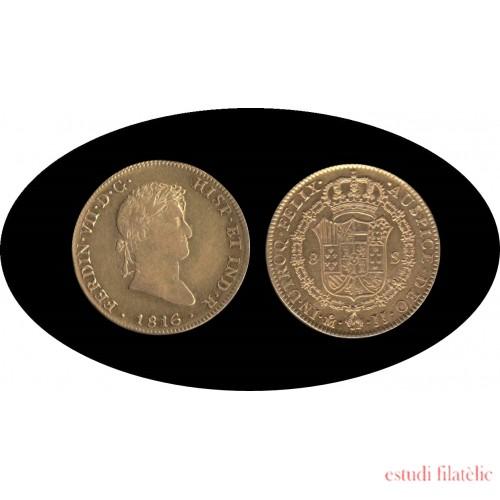 España Spain 8 escudos 1816 Mexico JJ Fernando VII
