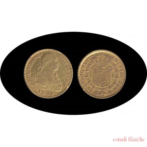 España Spain 2 escudos 1804 Madrid FA Carlos IIII gold