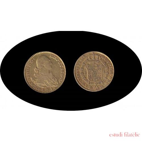 España Spain 2 escudos 1801 Madrid FA Carlos IIII gold