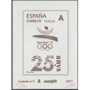España Spain Grabado 9 Barnafil 2017 25 Aniv. JJOO Barc. 92 Olimpiadas Tirada 50