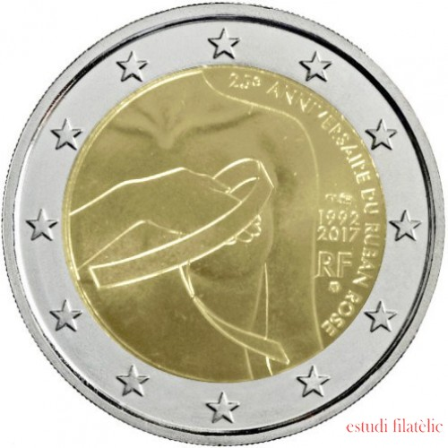 Francia 2017 2 € euros conmemorativos 25º Aniversario del Lazo Rosa
