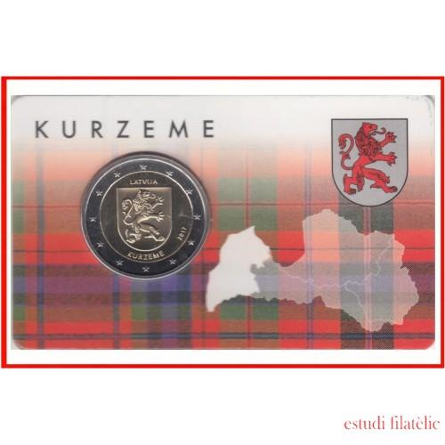 Letonia Latvija 2017 Cartera Oficial Coin Card Moneda 2€ euros Kurzeme Escudo