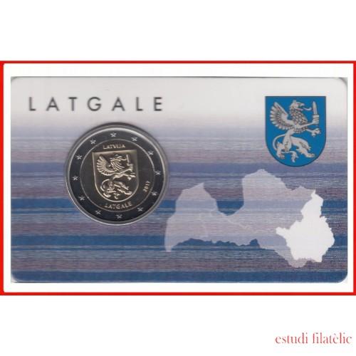 Letonia Latvija 2017 Cartera Oficial Coin Card Moneda 2€ euros Latgale  Escudo