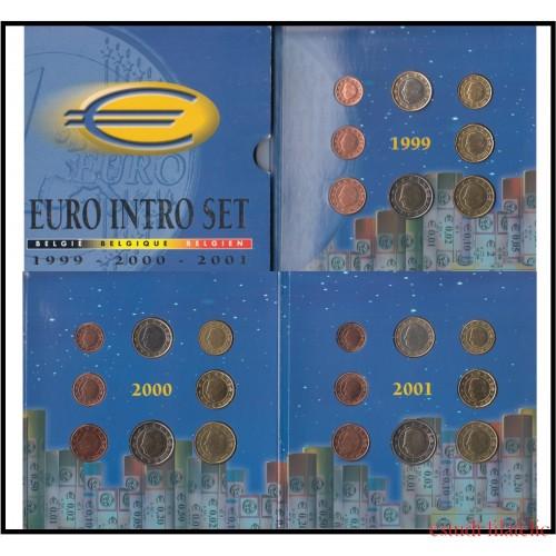 Bélgica 1999 - 2000 - 2001 Cartera Oficial Monedas € euro Set 3 Carteras