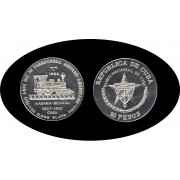 Cuba 10 pesos 1987 1 onza 150º  Aniv. del 1er Ferrocarril Hispano plata silver