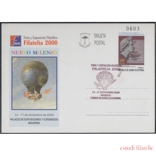 Guinea Ecuatorial Entero Postal 8 2000  Expo Filatelia Globo Globo Air balloon Matasellada