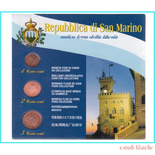 San Marino 2006 Set € euros 1 ct- 2 cts - 5 cts