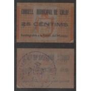 Billete local 1937 Ajuntament de Calaf  25 Cts.