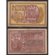 Billete local 1937 Ajuntament de Agramunt  20 Cts.
