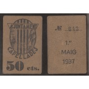 Billete local 1937  Ajuntament de Capellades  50 Cts.