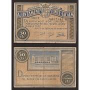 Billete local 1937 Ajuntament de Fonts de Sacalm  50 Cts.