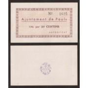 Billete local 1937 Ajuntament de Paüls  25 Cts.