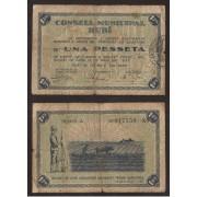 Billete local 1937 Ajuntament de Rubí 1 Peseta