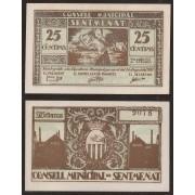 Billete local 1937 Ajuntament de Sentmenat  25 Cts.