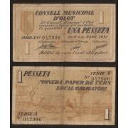 Billete local 1937 Ajuntament de Agramunt  1 Peseta