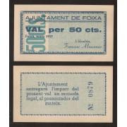 Billete local 1937 Ajuntament de Foixà  50 Cts.