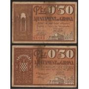 Billete local 1937   Ajuntament de Girona 50 Cts.