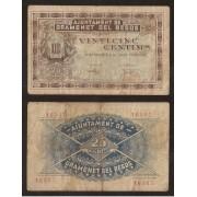 Billete local 1937 Ajuntament de Gramanet del Besòs 25 Cts.
