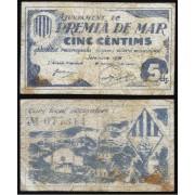 Billetes local 1937  Ajuntament de Premia de Mar  5 Cts.