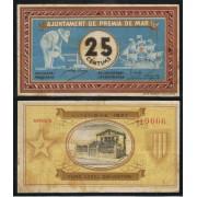 Billetes local 1937  Ajuntament de Premia de Mar  25 Cts.