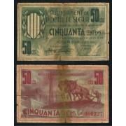 Billetes local 1937  Ajuntament de Pobla de Segur  50 Cts.