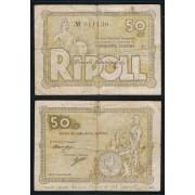 Billetes local 1937  Ajuntament de Ripoll  50 Cts.