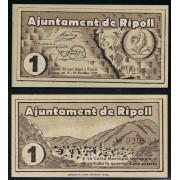 Billetes local 1937 Ajuntament de Ripoll  1 Peseta