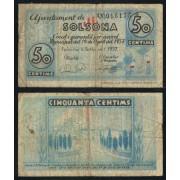 Billete local 1937 Ajuntament de Solsona  50 Cts.