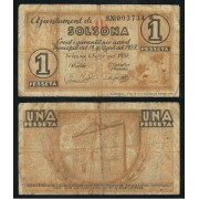Billete local 1937 Ajuntament de Solsona  1 Peseta