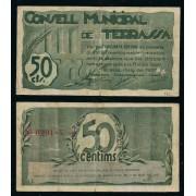 Billete local 1937 Ajuntament de Terrassa  50 Cts.