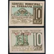 Billete local 1937 Ajuntament de Terrassa  10 Cts.