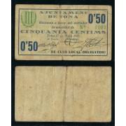 Billete local 1937 Ajuntament de Tona  50 Cts.