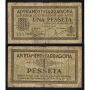 Billete local 1937 Ajuntament de Tarragona  1 Peseta