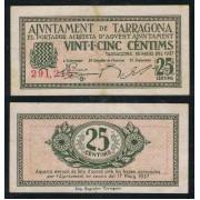 Billete local 1937 Ajuntament de Tarragona  25 Cts.