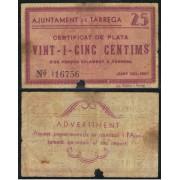Billete local 1937  Ajuntament de Tarrrega  25 Cts.